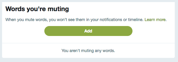 Mute Notifications for Twitter words and hashtags