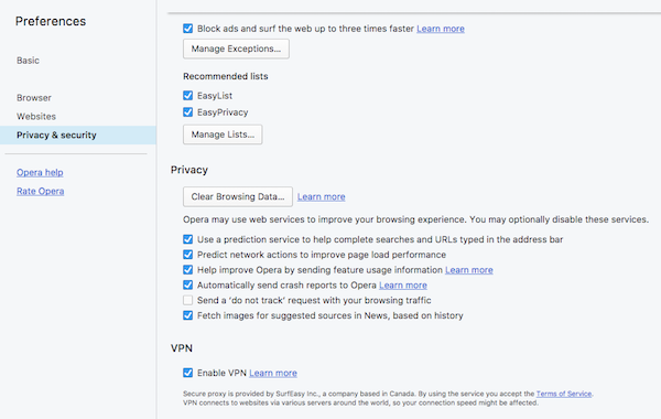 Opera Browser VPN settings