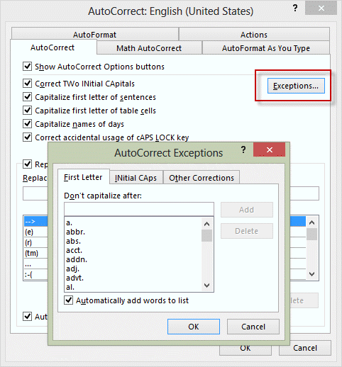 Don't Capitalize First Letter AutoCorrect Exception for Outlook Windows